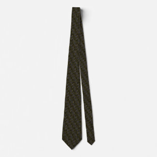 Black-and-Gold Hexagonally Patterned Necktie