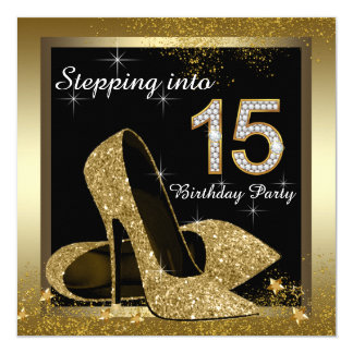 "Black and Gold High Heel Shoe Quinceañera 5.25"" Square Invitation Card"