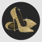 Black and Gold High Heel Shoe Stickers