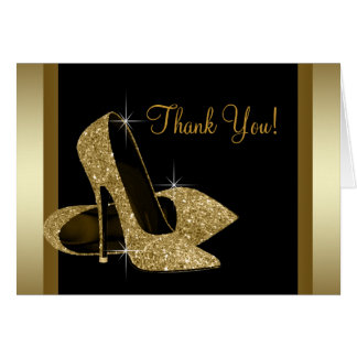 Black and Gold High Heel Shoe Thank You Card