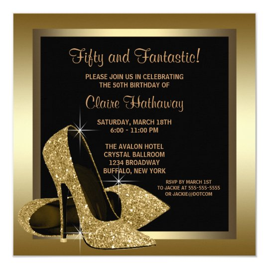 Black and gold high heels womans 50th birthday invitation zazzle black and gold high heels womans 50th birthday invitation filmwisefo