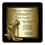 Black and Gold High Heels Womans Birthday Party 13 Cm X 13 Cm Square Invitation Card