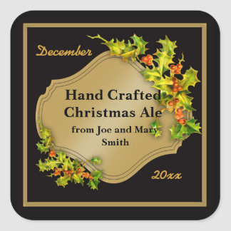 Black and Gold Holiday Beer Brewing Labels