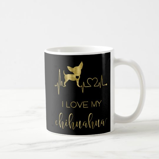 Black And Gold I Love My Chihuahua Classic Mug
