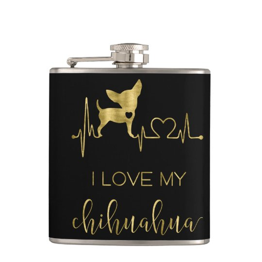 Black And Gold I Love My Chihuahua Vinyl Flask 6oz