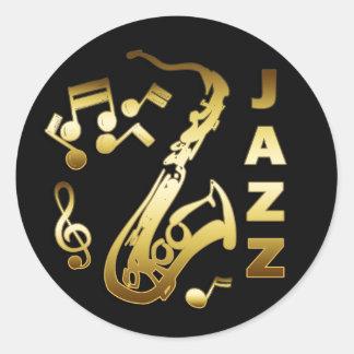 BLACK AND GOLD JAZZ CLASSIC ROUND STICKER