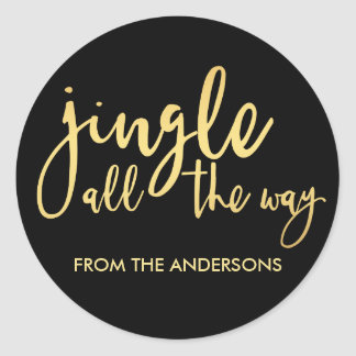 Black and Gold Jingle all the Way with Name Round Sticker