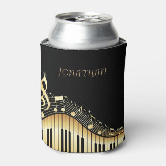 Black And Gold Keyboard With Musical Notes Can Cooler