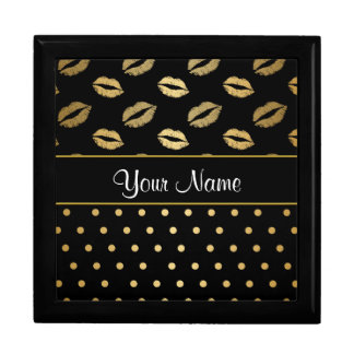 Black and Gold Kisses and Love Hearts Gift Box