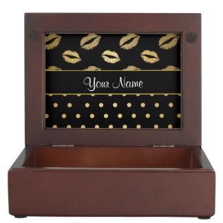 Black and Gold Kisses and Love Hearts Keepsake Box