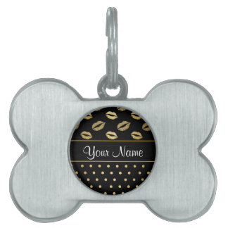 Black and Gold Kisses and Love Hearts Pet Tag