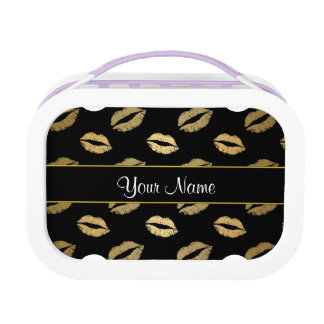 Black and Gold Kisses Lunch Boxes