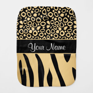 Black and Gold Leopard and Zebra Pattern Baby Burp Cloths