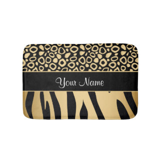 Black and Gold Leopard and Zebra Pattern Bath Mat