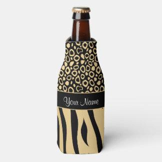 Black and Gold Leopard and Zebra Pattern Bottle Cooler