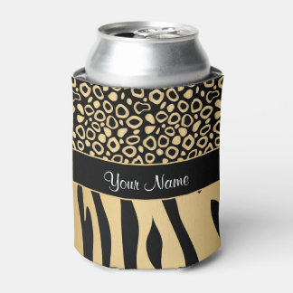 Black and Gold Leopard and Zebra Pattern Can Cooler