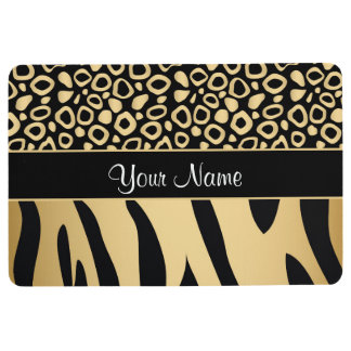 Black and Gold Leopard and Zebra Pattern Floor Mat