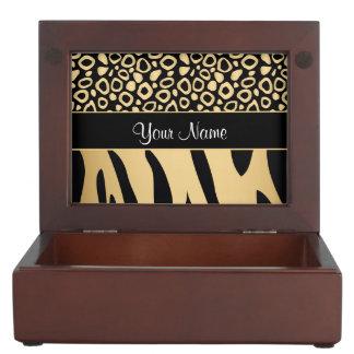 Black and Gold Leopard and Zebra Pattern Keepsake Box