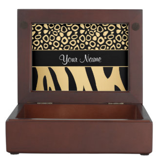 Black and Gold Leopard and Zebra Pattern Memory Boxes