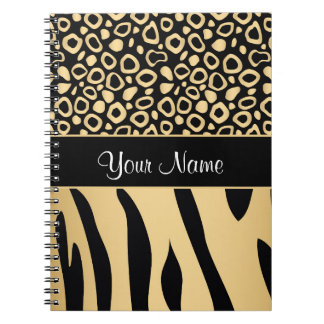 Black and Gold Leopard and Zebra Pattern Notebooks