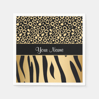 Black and Gold Leopard and Zebra Pattern Paper Serviettes