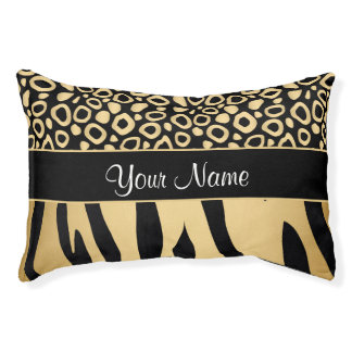 Black and Gold Leopard and Zebra Pattern Pet Bed