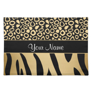 Black and Gold Leopard and Zebra Pattern Placemat