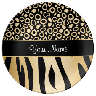 Black and Gold Leopard and Zebra Pattern Plate