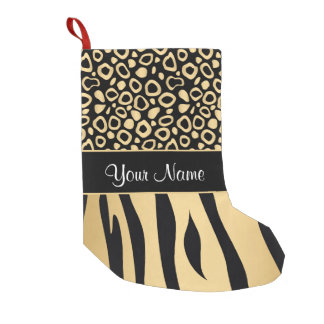 Black and Gold Leopard and Zebra Pattern Small Christmas Stocking