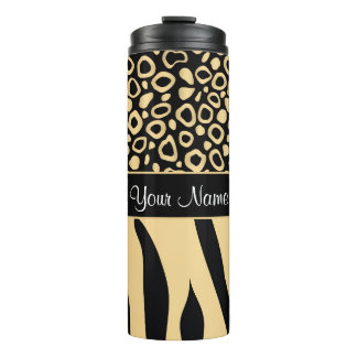 Black and Gold Leopard and Zebra Pattern Thermal Tumbler