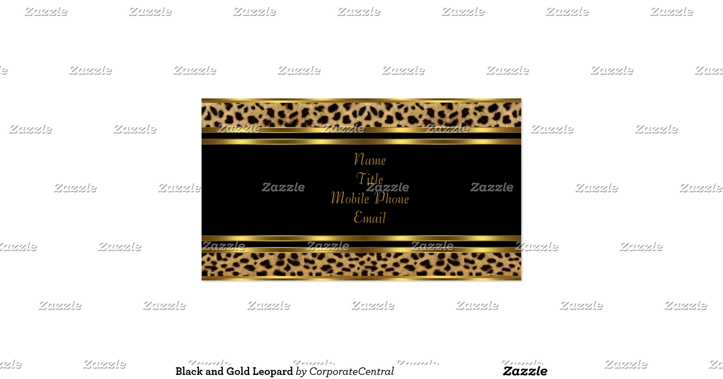 Black and Gold Leopard Pack Standard Business Cards