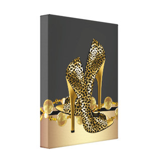 Black and Gold Leopard High Heel Shoes Boutique Gallery Wrapped Canvas