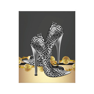 Black and Gold Leopard High Heel Shoes Boutique Stretched Canvas Print