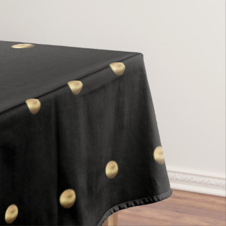 Black and Gold Look Polka Dot Pattern Elegant Tablecloth