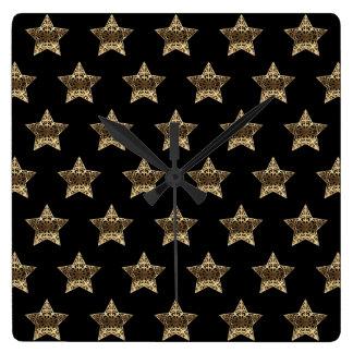 Black and Gold Look Stars Pattern Elegant Square Wall Clock