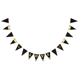 "Black and Gold ""Love"" Garland Flag Banner"