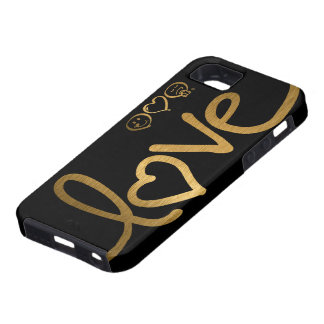 Black and Gold Love iPhone 5 Case