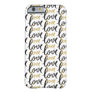 Black and Gold Love Pattern Barely There iPhone 6 Case
