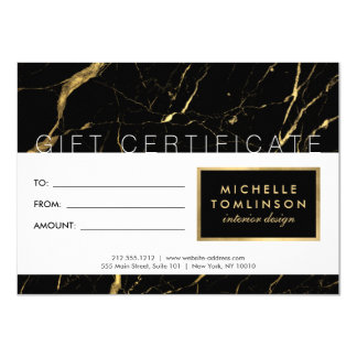 Black and Gold Marble Designer Gift Certificate Card