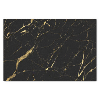 Black and Gold Marble Designer Tissue Paper