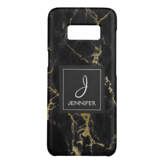 Black and Gold Marble Elegant Monogram Case-Mate Samsung Galaxy S8 Case