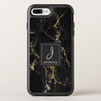 Black and Gold Marble Elegant Monogram OtterBox Symmetry iPhone 8 Plus/7 Plus Case
