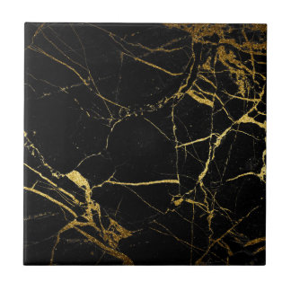 Black and Gold Marble Tile