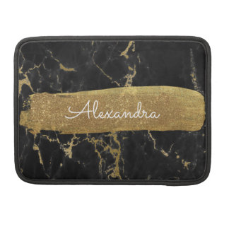 Black and Gold Marble with Gold Foil and Glitter Sleeve For MacBooks