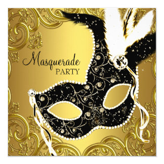 Black and Gold Mask Masquerade Party 13 Cm X 13 Cm Square Invitation Card