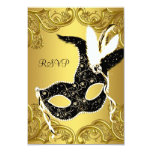 Black and Gold Masquerade Party RSVP Announcements