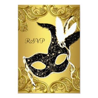 Black and Gold Masquerade Party RSVP Card