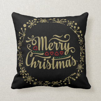 Black and Gold Merry Christmas Snowflake Pillow