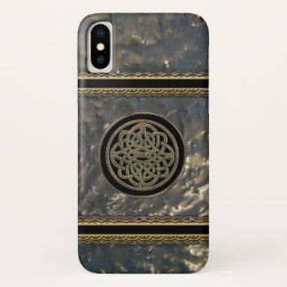 Black and Gold Metal Celtic Knot on iPhone X Case