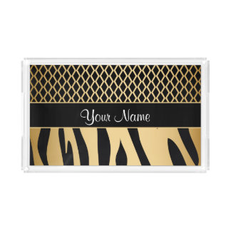 Black and Gold Metallic Animal Stripes Acrylic Tray